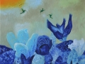 Kolibriai virs ziedu 40x50